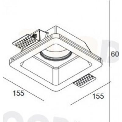 Χωνευτό trimless φωτιστικό 15cm τετράγωνο γύψινο