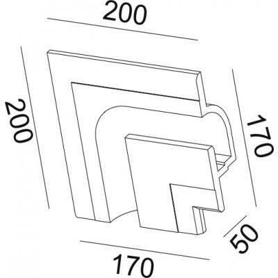 Γύψινη χωνευτή αριστερή γωνία trimless 20x17cm με υποδοχή για λεντοταινία