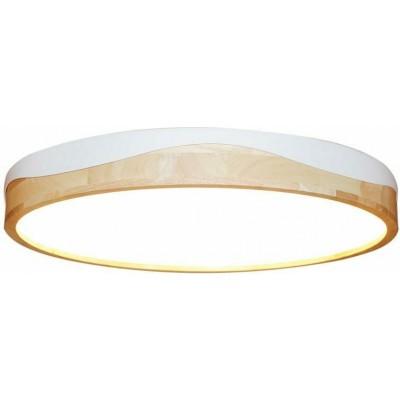 Φωτιστικό οροφής LED Ø55cm λευκό αλουμίνιο με ξύλο