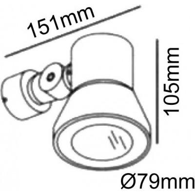 Σποτ τοίχου στεγανό Ø8x10cm από αλουμίνιο και πυρίμαχο γυαλί περιστρεφόμενο