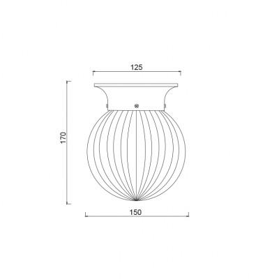 Γυάλινος γλόμπος με ραβδώσεις Ø15cm ACA