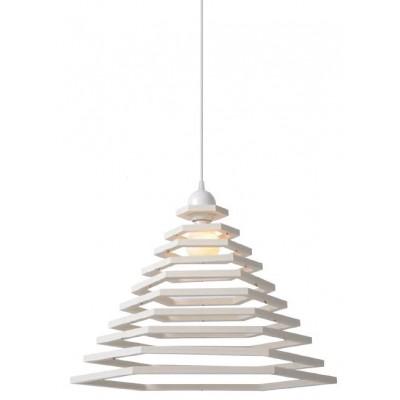 Λευκό κρεμαστό φωτιστικό Ø50cm με εξάγωνους δακτύλιους σε διαφορετικές διαμέτρους