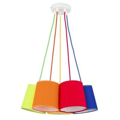 Πεντάφωτο κρεμαστό με χρωματιστά υφασμάτινα καπέλα