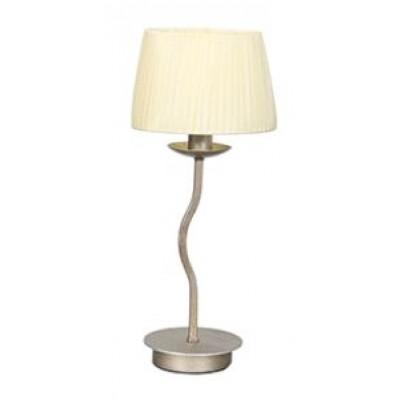 Μεταλλικό επιτραπέζιο φωτιστικό 42cm με υφασμάτινο καπέλο σε αμμώδες λευκό χρώμα