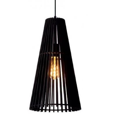 Μαύρο κρεμαστό φωτιστικό Ø45cm με ξύλινο κωνικό πλέγμα