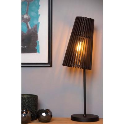 Μαύρο επιτραπέζιο φωτιστικό 55cm με αμπαζούρ Ø27cm με ξύλινο κωνικό πλέγμα