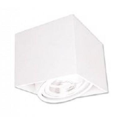 Λευκό ορθογώνιο σποτ οροφής 13x13cm περιστρεφόμενο