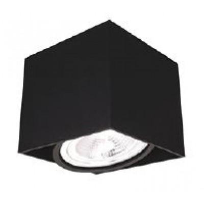 Ορθογώνιο σποτ οροφής 13x13cm σε μαύρο χρώμα περιστρεφόμενο