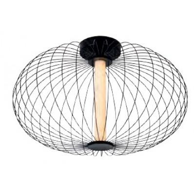 Φωτιστικό οροφής Ø50cm LED με μαύρο μεταλλικό πλέγμα