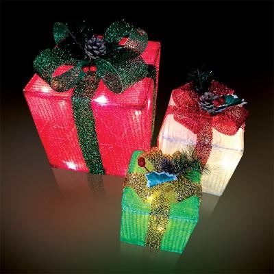 Χριστουγεννιάτικα πολύχρωμα δώρα LED με controller σε θερμό φως