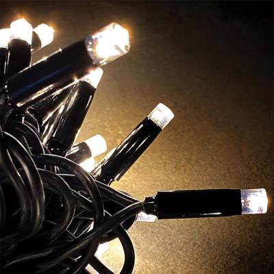 Σταθερά λαμπάκια με καουτσούκ καλώδιο στεγανό 10m LED θερμό φως