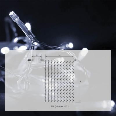 Κουρτίνα 2x3m διάφανη με 300 leds σε ψυχρό φως flash