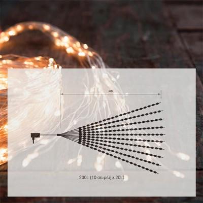 Στεγανό σύρμα LED χταπόδι 2m-200leds σε χάλκινο φως