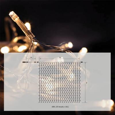 Κουρτίνα 3x3m διάφανη με 480 leds σε θερμό φως flash