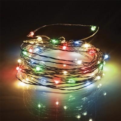 Στεγανό ασημί σύρμα 10m-100leds σε πολύχρωμο φως με controller