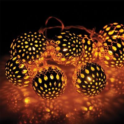 Μπάλες μαροκινές σε γιρλάντα 280cm-10leds σε χάλκινο φως