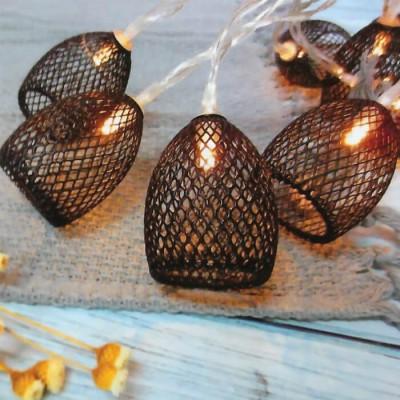 Μεταλλικά καλάθια LED γιρλάντα 150cm-10leds σε χάλκινο φως