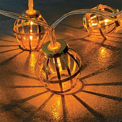 Μεταλλικά διαμάντια-μπάλες σε γιρλάντα 150cm-10leds σε χάλκινο φως