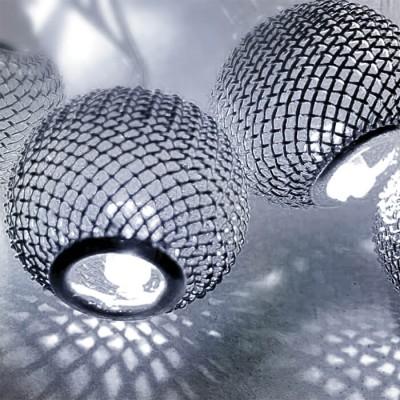 Μεταλλικές μπάλες LED γιρλάντα 150cm-10leds σε ψυχρό φως