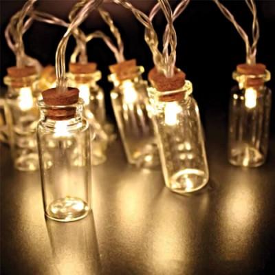 Μπουκαλάκια σε διάφανη γιρλάντα 150cm-10leds σε θερμό φως