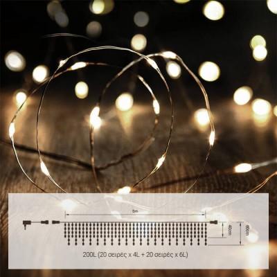 Στεγανό σύρμα 5m ασημί-200leds σε θερμό φως