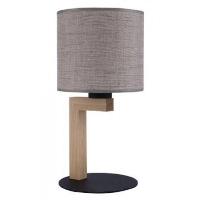 Επιτραπέζιο φωτιστικό με ξύλινο σώμα και αμπαζούρ