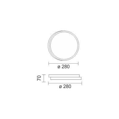 Μεταλλική πλαφονιέρα οροφής LED 3000K Ø28cm