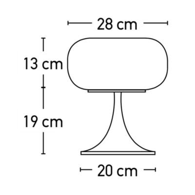 Δίφωτο πορτατίφ κομοδίνου 32cm με οβάλ αμπαζούρ
