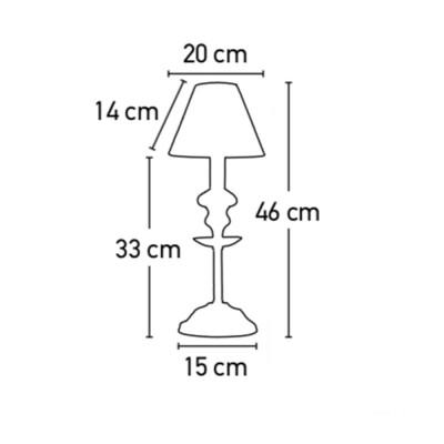 Επιτραπέζιο φωτιστικό κλασσικό 46cm λευκό με ντούι E14