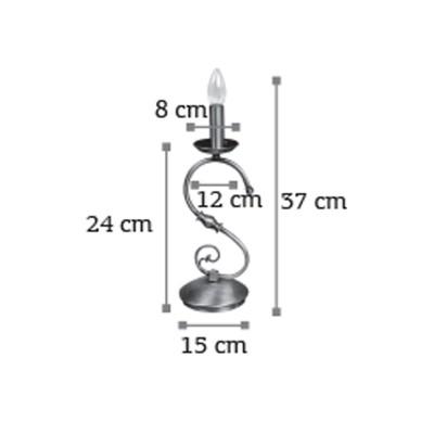 Κλασσικό επιτραπέζιο φωτιστικό ύψους 37cm από μέταλλο σε οξυντέ απόχρωση