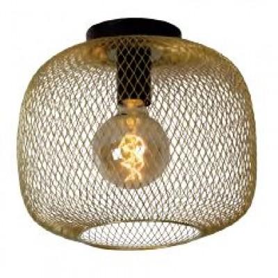 Χρυσό φωτιστικό οροφής Ø30cm με στρογγυλο λεπτό πλέγμα