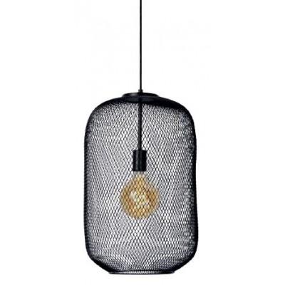 Κρεμαστό κυλινδρικό φωτιστικό Ø30cm με μαύρο λεπτό πλέγμα