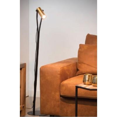 Μαύρο φωτιστικό δαπέδου 124cm με χρυσό σποτάκι