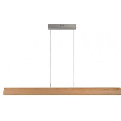 Ξύλινο κρεμαστό φωτιστικό γραμμικό 125cm LED με διακόπτη αφής on/off και dimmer