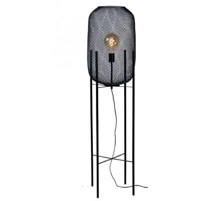 Φωτιστικό δαπέδου 135cm με κυλινδρικό αμπαζούρ με μαύρο λεπτό πλέγμα
