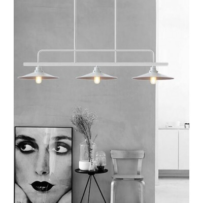 Vintage Industrial Φωτιστικό Οροφής Τρίφωτο Λευκό Μεταλλικό Ράγα