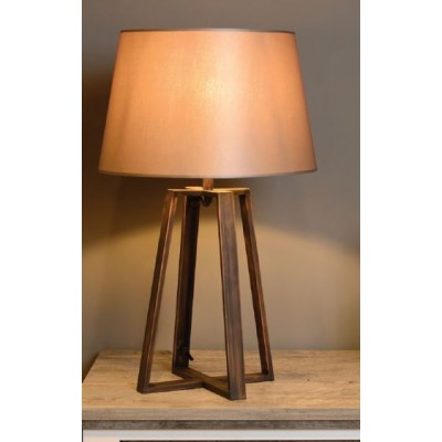 Rustic ξύλινο επιτραπέζιο φωτιστικό 63cm με καφέ καπέλο Ø35cm