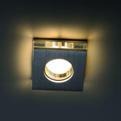 Χωνευτό σποτ decor από αλουμίνιο και γυαλί 9x9cm