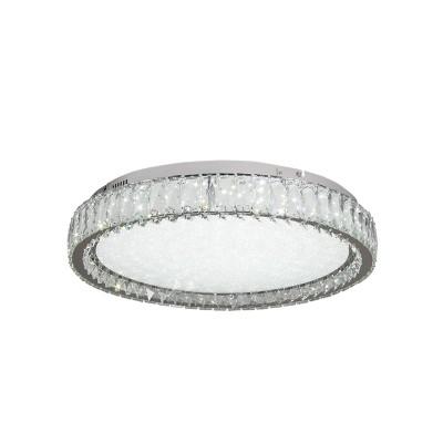 Στρογγυλό φωτιστικό οροφής ύψους 15cm από μέταλλο και κρύσταλλο σε χρώμιο