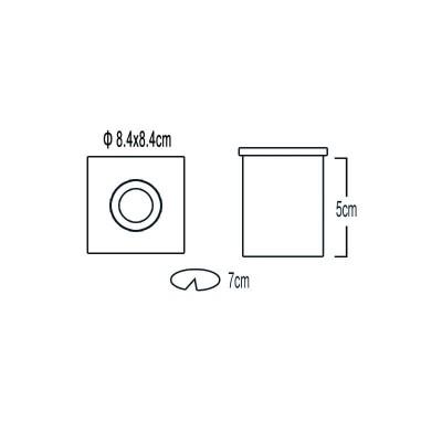 Χωνευτό σποτ 8.4x8.4cm στεγανό με γυαλί