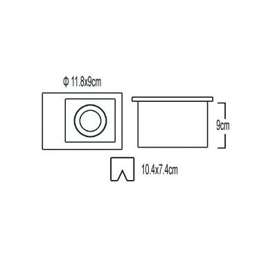 Ορθογώνιο χωνευτό σποτ μεταλλικό 11.8x9cm