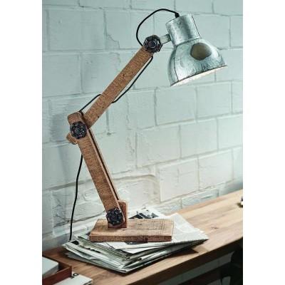 Ξύλινο φωτιστικό γραφείου με ασημί κεφαλή vintage