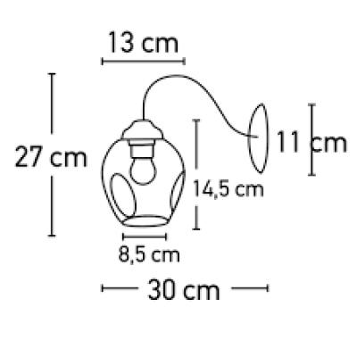 Μεταλλική απλίκα με φιμέ γυάλινη κεφαλή