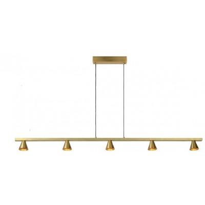Πεντάφωτο χρυσαφί κρεμαστό φωτιστικό 118cm γραμμικό LED με κωνικά σποτάκια