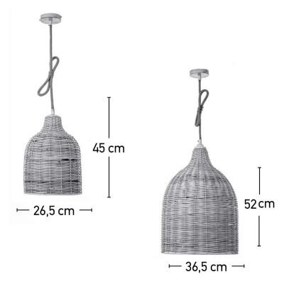Μονόφωτη κρεμαστή καμπάνα πλεκτή από ρατάν