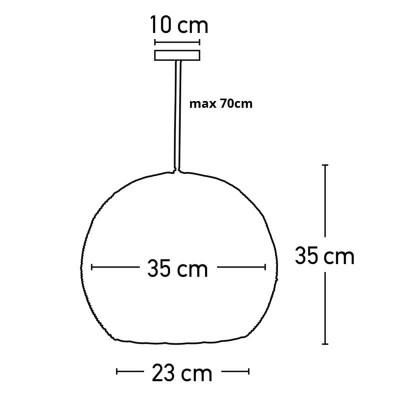 Στρογγυλό κρεμαστό Ø35cm πλεκτό από ρατάν