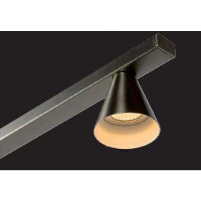 Πεντάφωτο ασημί κρεμαστό φωτιστικό 118cm γραμμικό με κωνικά σποτάκια LED