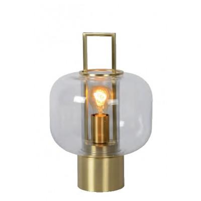 Επιτραπέζιο φωτιστικό 36cm μεταλλικό χρυσό με γυάλινη κεφαλή Ø24cm