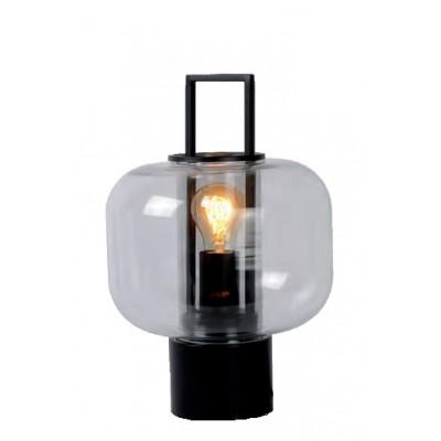 Επιτραπέζιο φωτιστικό 36cm μεταλλικό μαύρο με γυάλινη κεφαλή Ø24cm