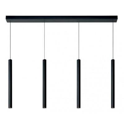 Μαύρη τετράφωτη κρεμαστή ράγα 120cm με ράβδους Ø3cm LED